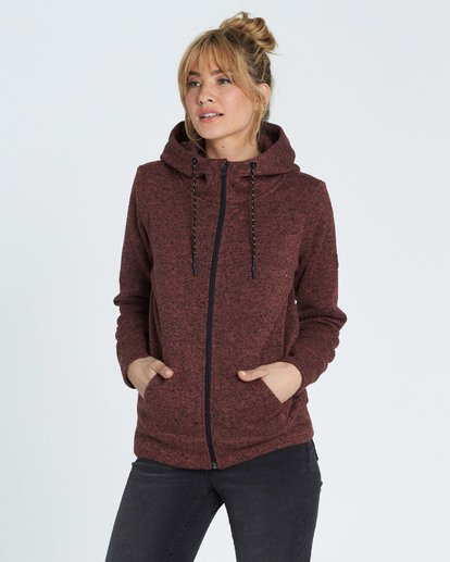 1 A/DIV Boundary Hooded Fleece Brown J623SBBO Billabong