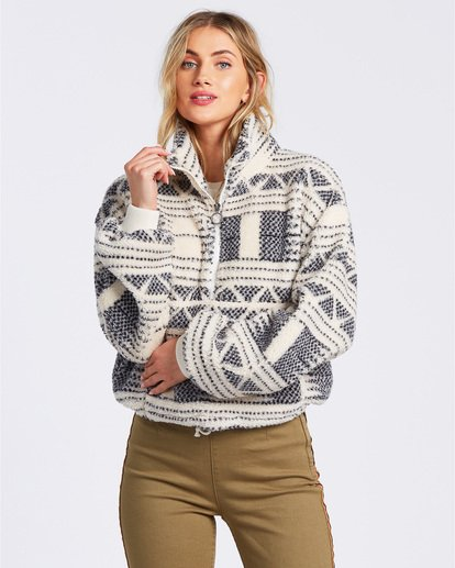 1 Time Off Fleece Pullover White J6413BTI Billabong
