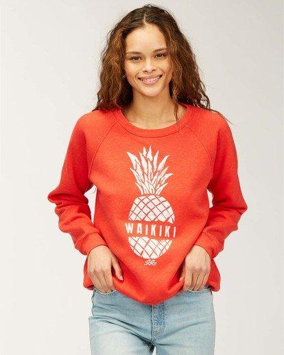 0 Waikiki Happy Place Crew Neck Sweatshirt Red J650QBHR Billabong
