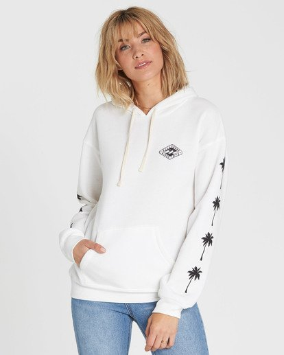 0 Windy Palms Logo Hoodie White J651SBWI Billabong