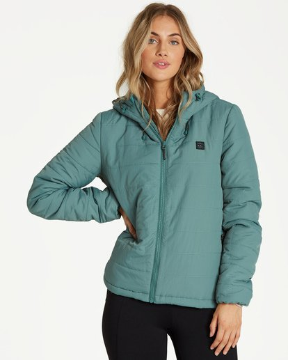 0 A/DIV Transport Puffer Jacket Green J714SBTR Billabong