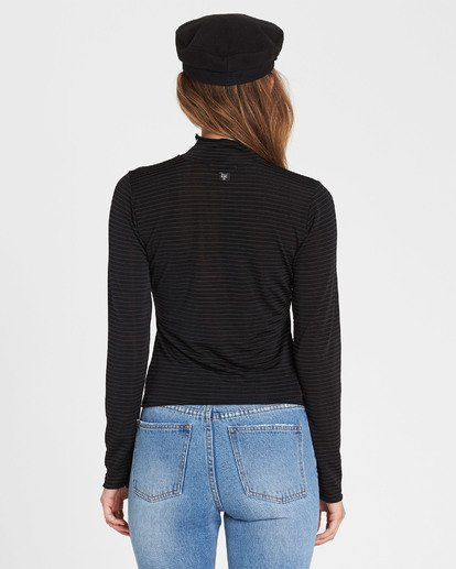 3 Get Right Mock Neck Long Sleeve Top Black J918SBGE Billabong