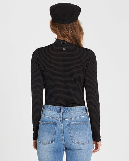 4 Get Right Mock Neck Long Sleeve Top Black J918SBGE Billabong