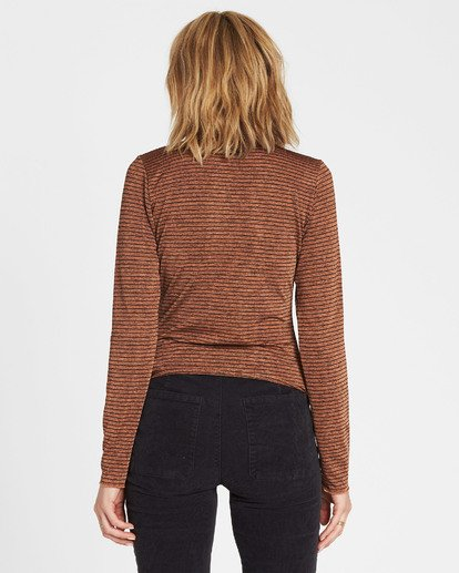 3 Get Right Mock Neck Long Sleeve Top Brown J918SBGE Billabong