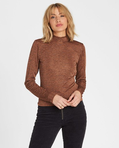 0 Get Right Mock Neck Long Sleeve Top Brown J918SBGE Billabong