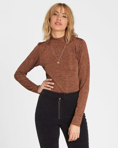 4 Get Right Mock Neck Long Sleeve Top Brown J918SBGE Billabong