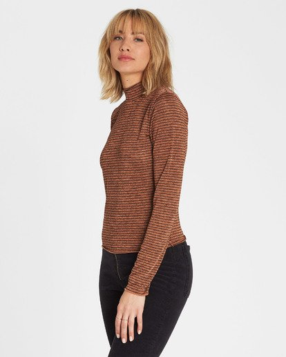 1 Get Right Mock Neck Long Sleeve Top Brown J918SBGE Billabong