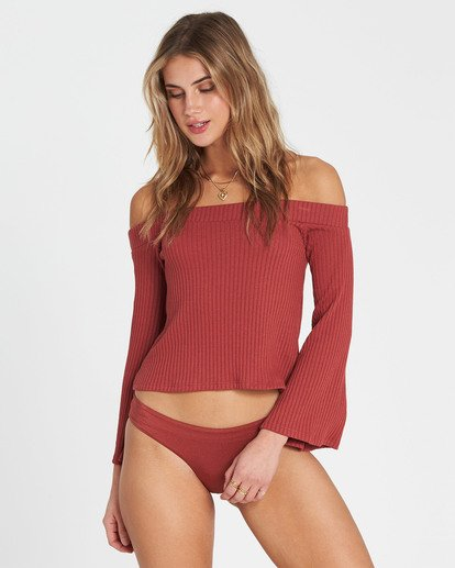 0 Fly Far Off-The-Shoulder Long Sleeve Top Red J920SBFL Billabong