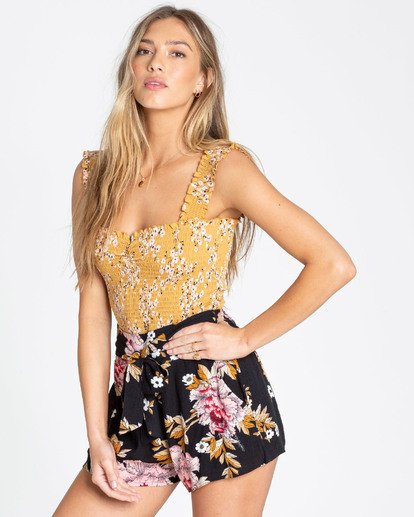 1 Sun Dreamer Bodycon Crop Top Yellow J921TBSU Billabong