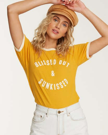 0 Turn Around Ringer T-Shirt Yellow J923TBTU Billabong