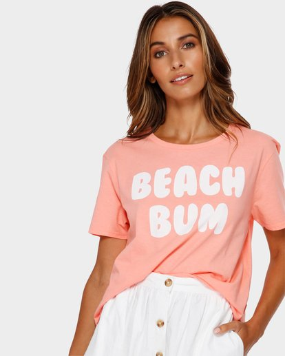 0 Beach Bum Crop T-Shirt Pink J990TBBR Billabong