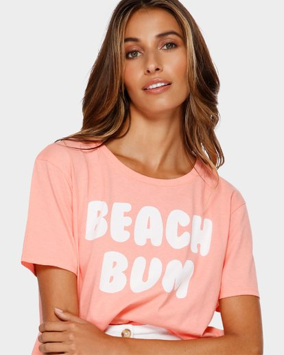 3 Beach Bum Crop T-Shirt Pink J990TBBR Billabong