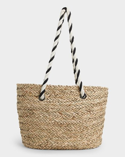 4 Island Time Straw Tote Bag White JABGUBIS Billabong