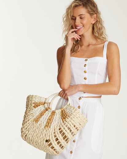 4 High Summer Straw Tote Beige JABGVBHI Billabong