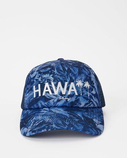 1 Hawaii Blue Palm Trucker Hat Grey JAHWNBBR Billabong
