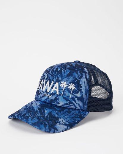 0 Hawaii Blue Palm Trucker Hat Grey JAHWNBBR Billabong