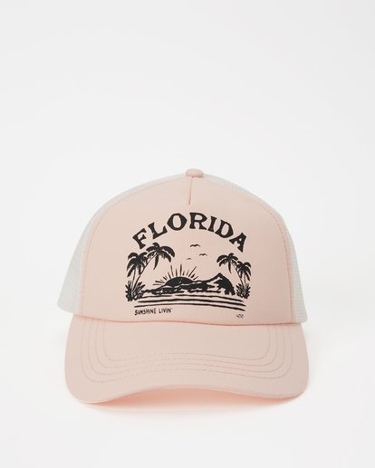 1 Florida Sunshine Livin Trucker Hat Pink JAHWNBNR Billabong