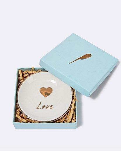 "0 ""Love"" Ceramic Jewelry Dish Grey JAMCXBLD Billabong"