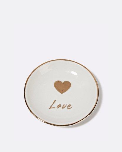 "1 ""Love"" Ceramic Jewelry Dish Grey JAMCXBLD Billabong"