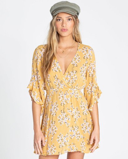 0 Love Light Mini Dress Yellow JD02TBLO Billabong