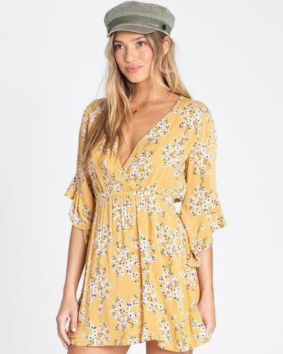 1 Love Light Mini Dress Yellow JD02TBLO Billabong