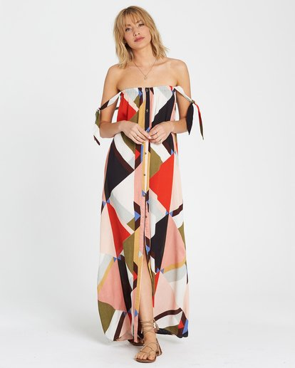 1 Rainbow Gate Printed Maxi Dress  JD06SBRA Billabong