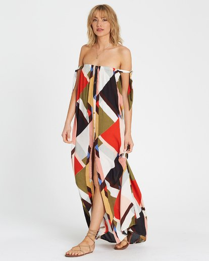 2 Rainbow Gate Printed Maxi Dress Black JD06SBRA Billabong
