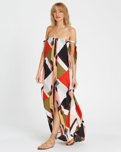 3 Rainbow Gate Printed Maxi Dress Black JD06SBRA Billabong