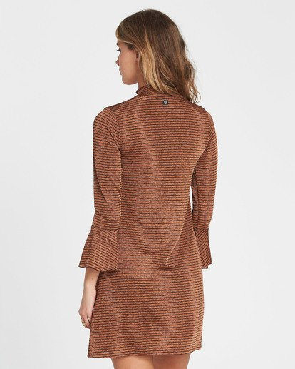 3 Free Feelin Long Sleeve Mini Dress Brown JD08SBFR Billabong