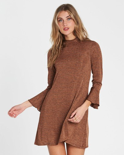 1 Free Feelin Long Sleeve Mini Dress Brown JD08SBFR Billabong
