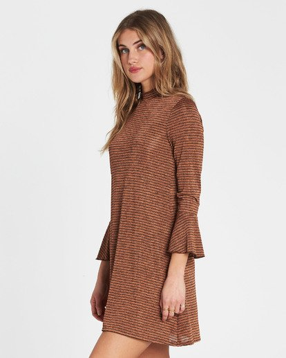 2 Free Feelin Long Sleeve Mini Dress Brown JD08SBFR Billabong