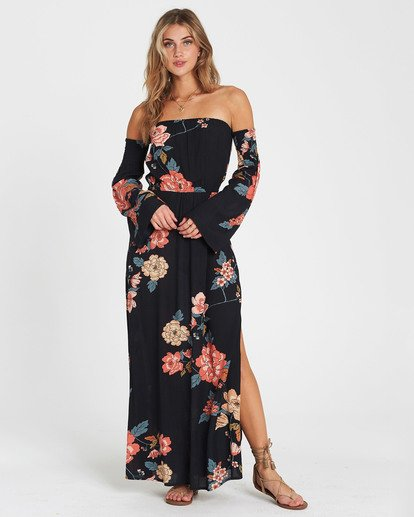 0 Crystal Flower Off-The-Shoulder Maxi Dress Black JD14SBCR Billabong