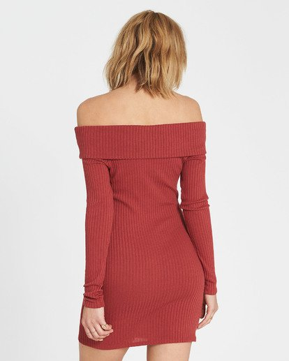 2 Sweater Weather Off-The-Shoulder Sweater Dress Red JD15SBSW Billabong