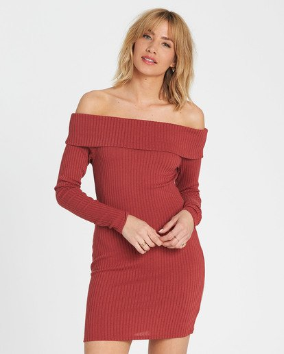 0 Sweater Weather Off-The-Shoulder Sweater Dress Red JD15SBSW Billabong