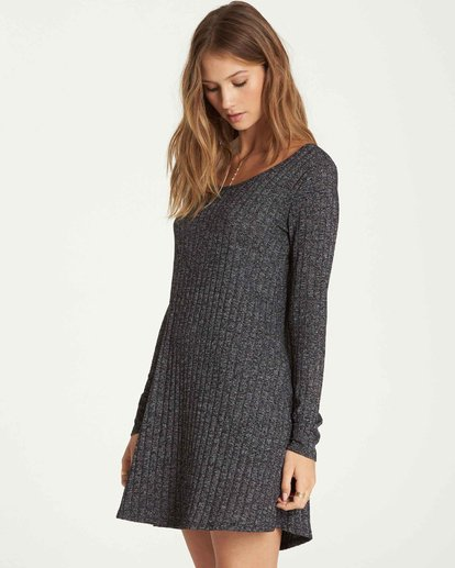 1 Heart To Heart Long Sleeve Dress Grey JD16QBHE Billabong