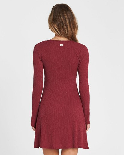 2 Walk On Long Sleeve Sweater Dress Red JD17SBWA Billabong