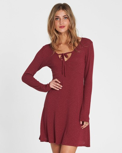 0 Walk On Long Sleeve Sweater Dress Red JD17SBWA Billabong