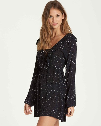 2 Take Away Long Sleeve Mini Dress Black JD18QBTA Billabong