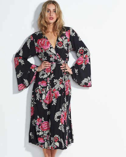 0 Floral Whispers Floral Print Midi Dress Black JD22SBFL Billabong