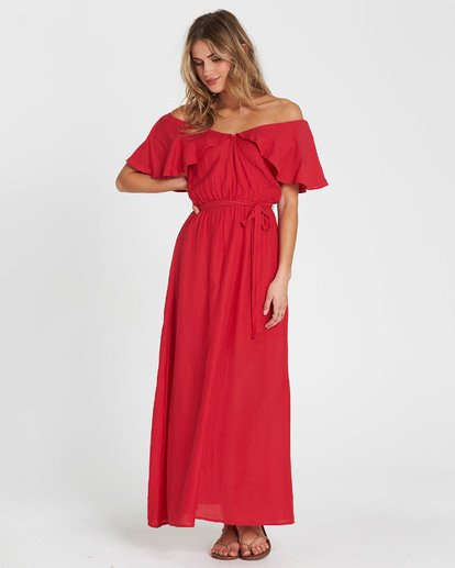 2 Dance All Night Knit Maxi Dress Red JD23SBDA Billabong