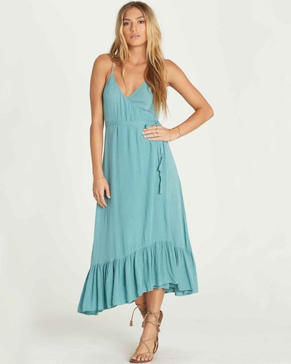 0 Hold Me Tight Wrap Maxi Dress Blue JD26PBHO Billabong