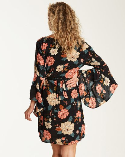 2 Always Love Floral Long Sleeve Dress Black JD31SBAL Billabong
