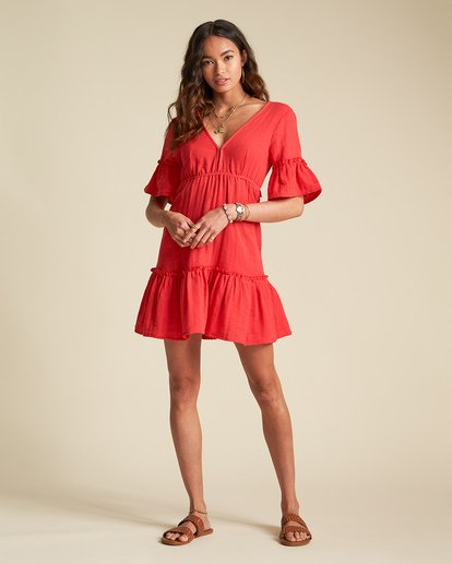 2 Sincerely Jules Lovers Wish Dress Red JD31TBLO Billabong