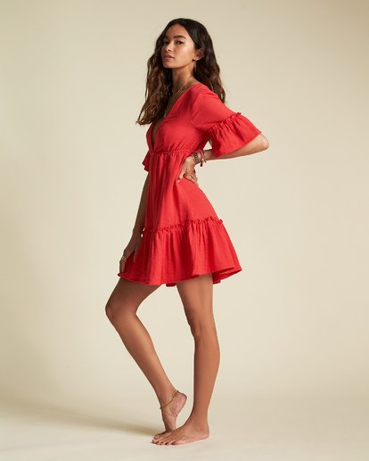 3 Sincerely Jules Lovers Wish Dress Red JD31TBLO Billabong