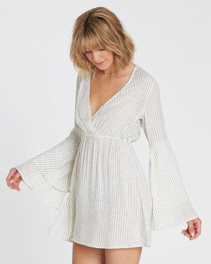 1 Night Fever Long Sleeve Mini Dress White JD33SBNI Billabong