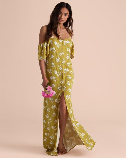 3 Sincerely Jules Shoulder Sway Maxi Dress Yellow JD34TBSH Billabong