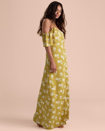 1 Sincerely Jules Shoulder Sway Maxi Dress Yellow JD34TBSH Billabong