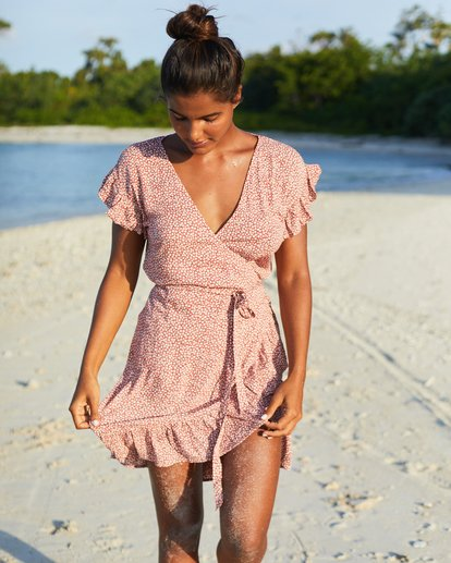 0 Wrap And Roll Dress Red JD47WBWR Billabong