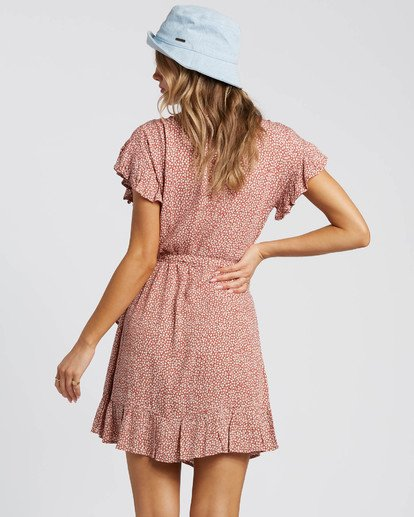 3 Wrap And Roll Dress Red JD47WBWR Billabong