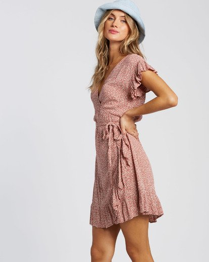 2 Wrap And Roll Dress Red JD47WBWR Billabong